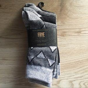 3 Pairs FRYE Everyday Geometric Crew Socks 5-10
